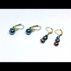 Jewelry - Gray faux pearl 925 clip earrings x2